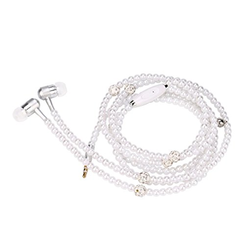 Stereo Pearl Necklace Headphone Headset Super Bass Music Earphone Earbuds (White) ()