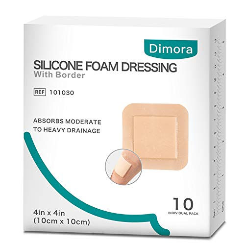 Thin Foam Dressing - Silicone Foam Dressing with Border Adhesive Waterproof 4