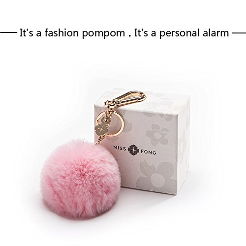 Miss Fong 120 DB Self Defense Keychain Personal Alarm for Security with Rabbit Fur Ball Pom Pom,Bag/Purse Clip (PPS-23K) Pink