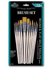 Royal en Langnickel Round/Flat Taklon Variety Brush Set - Goud (Pak van 12)