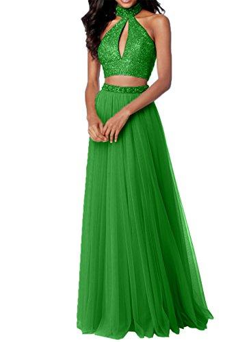 Teilig Tuell Gruen 2 Promkleider Charmant Abiballkleider Damen Abendkleider Steine Abschlussballkleider Zwei Rosa Apfel mit wgwWIqO7E