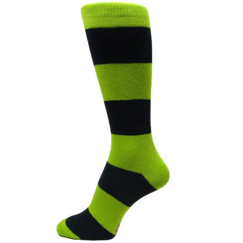 Lime Green Bridal Dresses - Spotlight Hosiery Men's Groomsmen Wedding Dress Striped Socks-Lime Green/Navy Blue