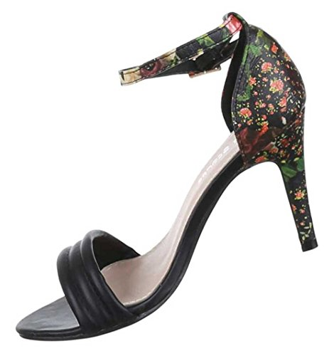 Damen-Schuhe Sandaletten   elegante High-Heel mit Stiletto Absatz in verschiedenen Farben und Größen   Schuhcity24   mit Blumen-Muster Schwarz