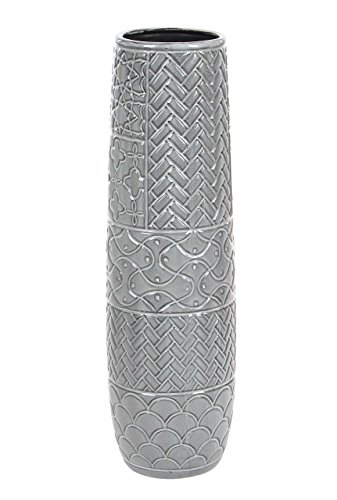 """Deco 79 59948 Ceramic Vase with Various Carved Patterns 22"""" x 6"""" Gray"""