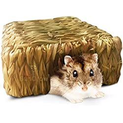 """Rat Hut, 9"""" x 8"""" x 3"""" Straw House with Open Entrance, Lightweight, Durable Home for Pocket Pets, Use Upside Down or Right Side Up, Suitable for Rats, Mice, Hamster, Ferrets and Gerbils"""