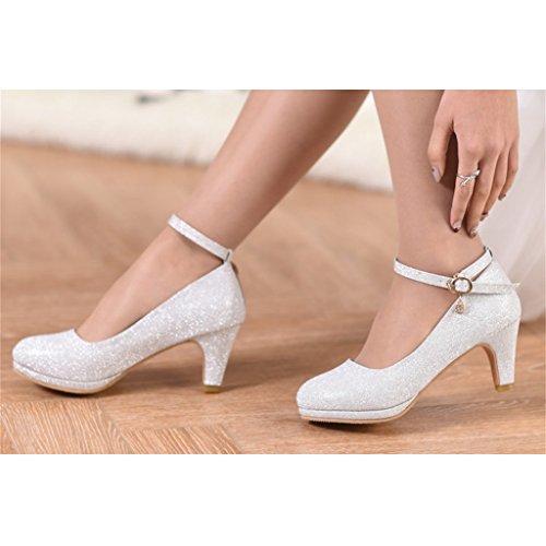 Sposa D'onore Nozze Bridal Shoes Donna Damigella 6cm D'argento Dimensioni Silver Tacchi Silver con Scarpe colore Di Beautiful 37 Da Abiti Alti wI4f00z