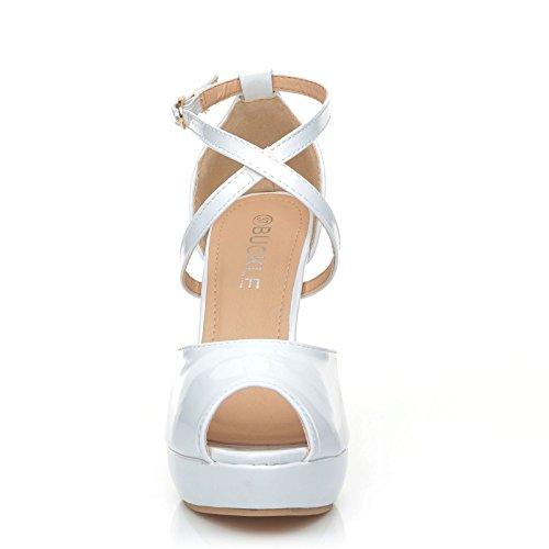 blanc Escarpins femme Cross verni Blanc UK pour ShuWish w178X7