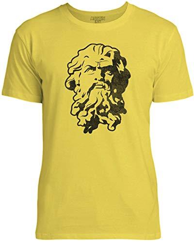 Austin Ink Apparel Womens Greek God Statue Stencil Unisex Cotton T-Shirt, Bright Yellow, XL -