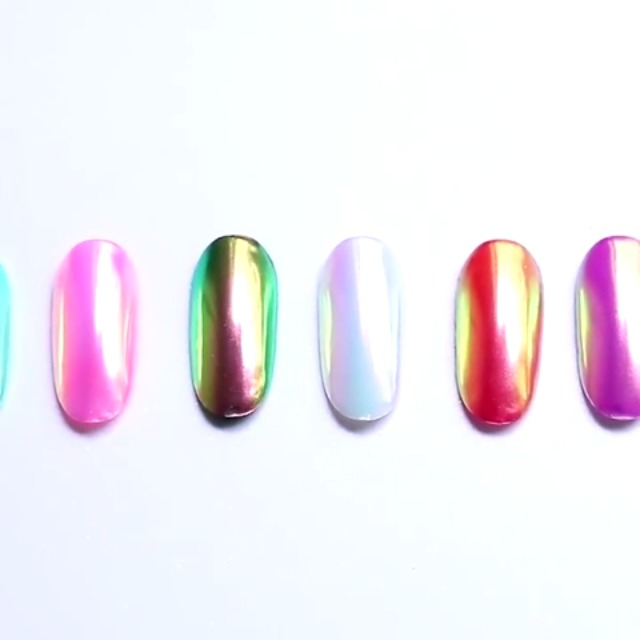 PrettyDiva Mermaid Chrome Nail Powder - Neon Iridescent Nail Powder Aurora Nail Pigment, Opal Unicorn Chrome Nail Powder Manicure Pigment #02