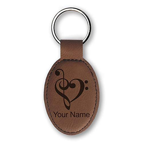 (Oval Keychain, Music Heart, Personalized Engraving Included (Dark Brown))