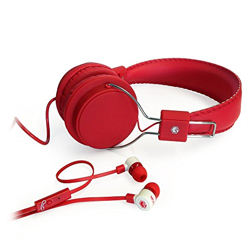 MQbix MQHT470RED 2-In-1 Combo Pack EarFoam Plus High Performance In-Ear Earphones with Built-In Mic and Deep Bass Stereo Headphones, Red ()