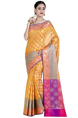 Chandrakala Women's Gold Cotton Silk Blend Banarasi Saree,Free Size(1291GOL)