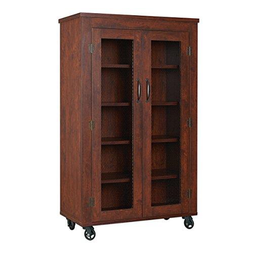 ioHOMES Naveen Industrial Storage Cabinet, Vintage Walnut (Walnut Cabinet)