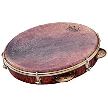 "REMO Pandeiro, Choro Pandeiro, 10"" x 1.75"" Key-Tuned, SKYNDEEP Goat Brown Ultratac Drumhead, Copper Jingles, Antique Veneer Finish"