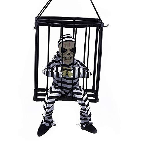 Skeleton Caged Jail Prisoner Light Up Halloween - Caged Skeleton