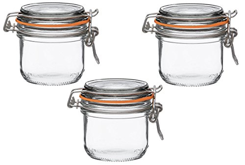 Le Parfait French Super Terrine Wide Mouth Jar - 200 Grams with 70 mm Gasket (Pack of 3) (Spring Jar)