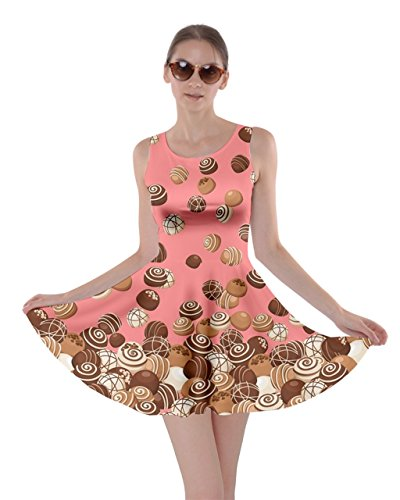 CowCow Womens Chocolates Fall Dessert Skater Dress, Pink - M -