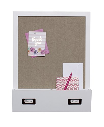 DesignOvation Decorative Wall Wood Home Organizer with Fabric Pin Board & Two Cubbies, White (209333)