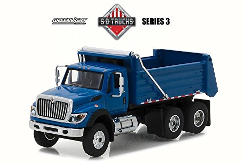 Greenlight 2017 International  WorkStar Construction Dump Truck, Dark Blue 45030A/48-1/64 Scale Diecast Model Toy (Scale Replica Diecast Tractor Trailer)