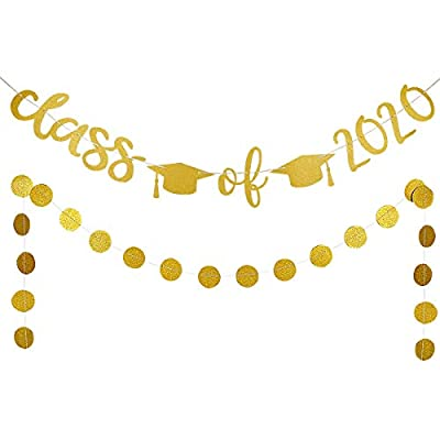 Gold Glittery Class of 2020 Banner and Gold Glittery Circle Dots Garland Banner- 2020 Graduation Party Decorations,High School Graduation College Grad Party Decorations Supplies: Toys & Games