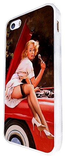 688 - Vintage Pin Up Girl Sexy Design iphone SE - 2016 Coque Fashion Trend Case Coque Protection Cover plastique et métal - Blanc