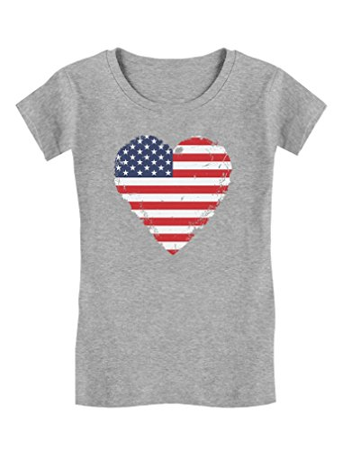 American Heart Baby T-shirt - Love USA 4th of July American Heart Flag Toddler/Kids Girls' Fitted T-Shirt 2T Gray