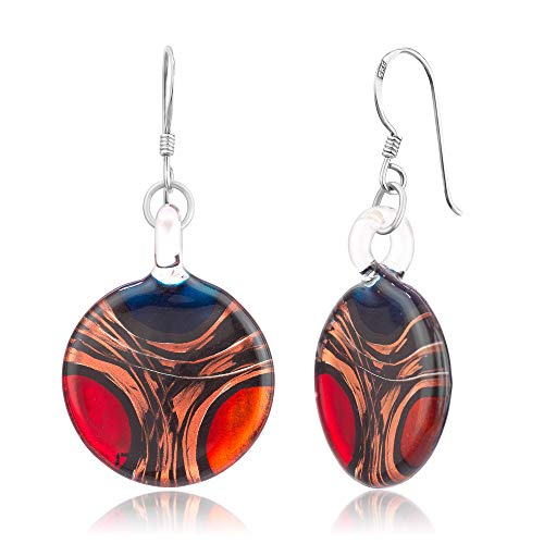 925 Sterling Silver Hand Blown Venetian Murano Glass Red Blue Yellow Gold Curve Dangle Earrings Blue Murano Glass Earrings