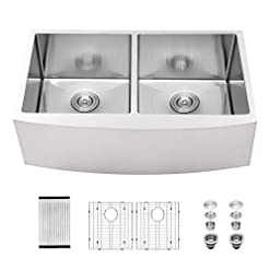 Farmhouse Kitchen 33 Inch Farmhouse Sink Double Bowl 50/50 – Mocoloo 16 Gauge Stainless Steel Undermount Apron Front Farm Kitchen Sink… farmhouse kitchen sinks