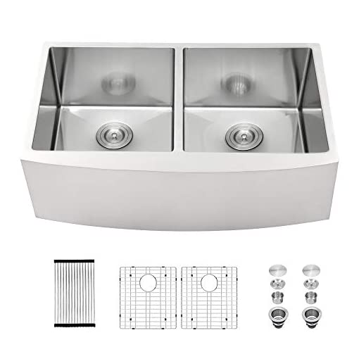 Farmhouse Kitchen 33 Farmhouse Sink – Mocoloo 33 Inch Farmhouse Sink Double Bowl 50/50 16 Gauge Stainless Steel Apron Front Kitchen Sink farmhouse kitchen sinks