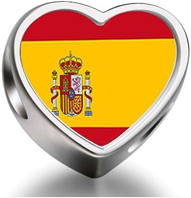 Granos del encanto del corazón de la bandera de España de Pandora Chamilia Biagi granos de los encantos de ajuste de la pulsera: Amazon.es: Joyería