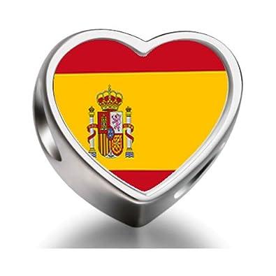 Spain flag Heart Photo Charm Beads Fit Pandora Chamilia