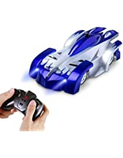 AMERTEER Remote Control Car,Electric Toy RC Cars on the Wall, Dual Mode 360°Rotating Stunt Rechargeable High Speed Race Vehicle with LED Lights, Xmas RC Cars for Boys Girls 3-16 Year Old (blue)