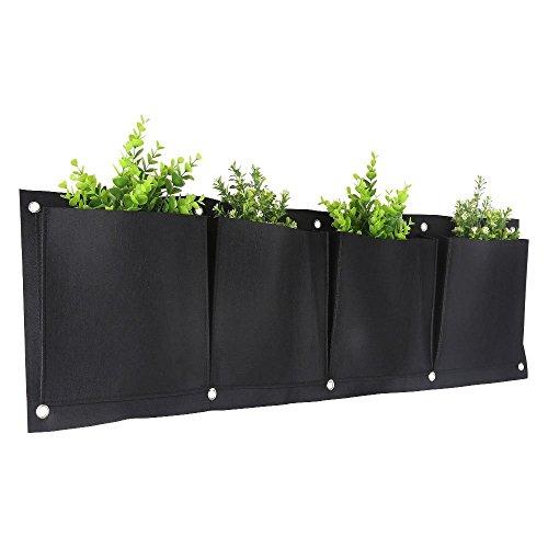 Vertical Garden Planter, Kisstaker 4 Pockets Wall Haning Felt Planter Bags Wall Mount Planter Indoor Outdoor Planter Growing Bag