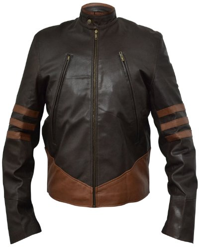 XO X-MEN WOLVERINE LEATHER JACKET -Brown- FAUX Leather , (Leather Jacket Movie)