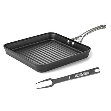 Calphalon Aluminum Nonstick Cookware, Square Grill Pan, 11-inch, Black, With Nylon Fork Utensil