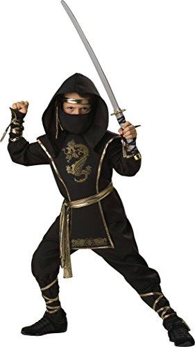 Child Gold Dragon Warrior Ninja Costumes (Fun World Ninja Warrior Costume, Black/Gold, XX-Large)