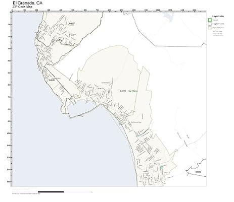 Amazoncom ZIP Code Wall Map of El Granada CA ZIP Code Map Not
