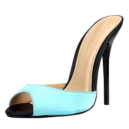 45147d477c5 fereshte Women s Men s Satin Peep-Toe Backless Slide Sandals Mule Shoes  High Heel Sandals Plus