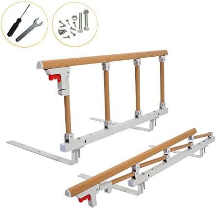 Bed Rail Safety Assist Handle Bed Railing for Elderly & Seniors, Adults, Children Guard Rails Folding Hospital Bedside Grab Bar Bumper Handicap Medical Assistance Devices (1 Pcs, Wood Grain)