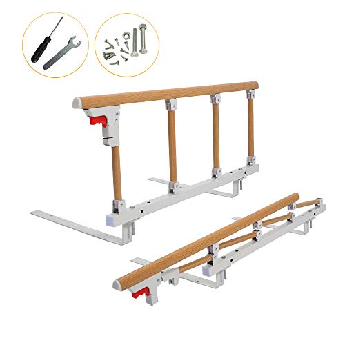 Bed Rail Safety Assist Handle Bed Railing for Elderly & Seniors, Adults, Children Guard Rails Folding Hospital Bedside Grab Bar Bumper Handicap Medical Assistance Devices (1 Pcs, Wood ()