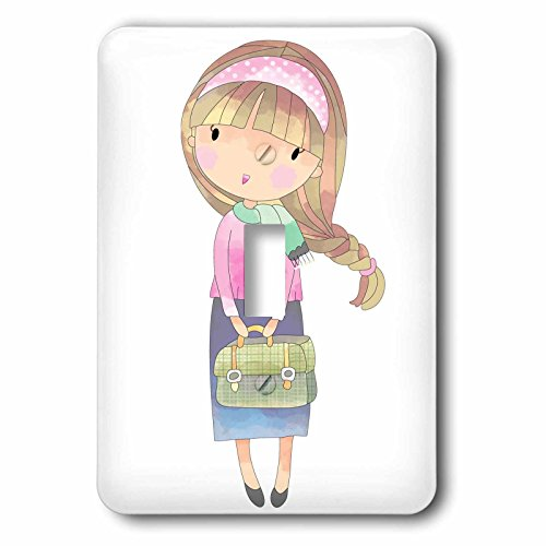 Covers Age Switch Light (3dRose Anne Marie Baugh - Illustrations - Cute Teenage Girl With Purse Illustration - Light Switch Covers - single toggle switch (lsp_254873_1))