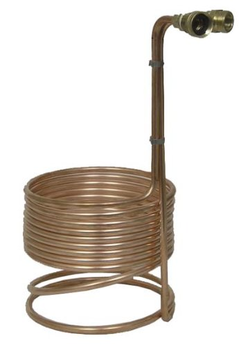 Compact 8'' Copper Immersion Wort Chiller w/Garden Hose Fittings by Home Brew Stuff