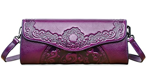 PIFUREN Womens Luxury Evening Wedding Party Purse Clutch Floral Handbag Y76937(One Size, Violet) by PIFUREN
