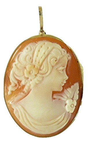Vics Fine Jewelry Cameo 25 mm x 17.4 mm Carnelian Shell Lady Pin and Pendant,14K Yellow Gold