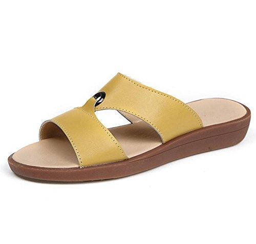 RuiWort-style offene Sandalen Frauen wilder bequemer flacher Schuh beil?ufige weibliche Sandalen schl¨¹pfen Yellow
