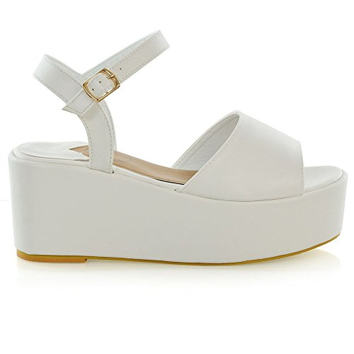 ESSEX GLAM Womens Platform Wedge Heel Sandals Ladies Ankle Strap Peep Toe Shoes Size 3-8 White foSv92J