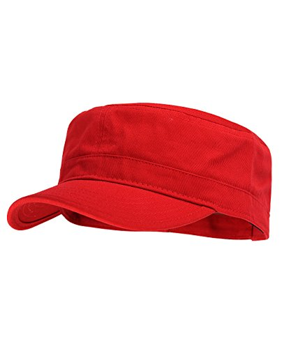 NYFASHION101 Five Panel Solid Color Unisex Adjustable Army Military Cadet Cap, Red