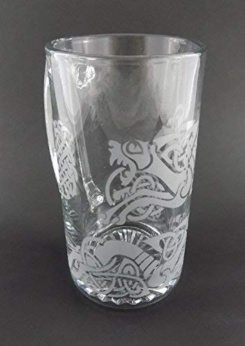 IncisoArt Hand Etched 25 Ounce Champions Beer Mug Sandblasted (Sand Carved) Handmade Glass Stein (Celtic Dragon Celtic Knot)