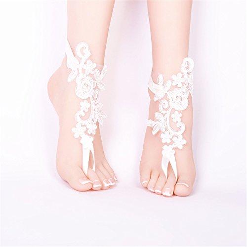 nbsp;coppia nudi catena wedding 1 alla piede party 3 Flower moda sandali a XCSSKG Lace 1 piedi Prom cavigliera Fw5I1