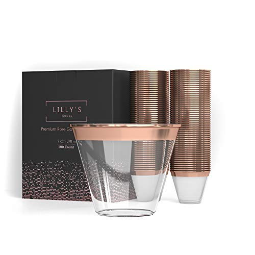 Rose Gold Plastic Cups ? 9 oz Disposable Recyclable Cups ? Clear Party Tumblers - Fancy Elegant Decorative Rim - Celebration Pack of 100 Tumblers - With Cocktails Recipe e-Book